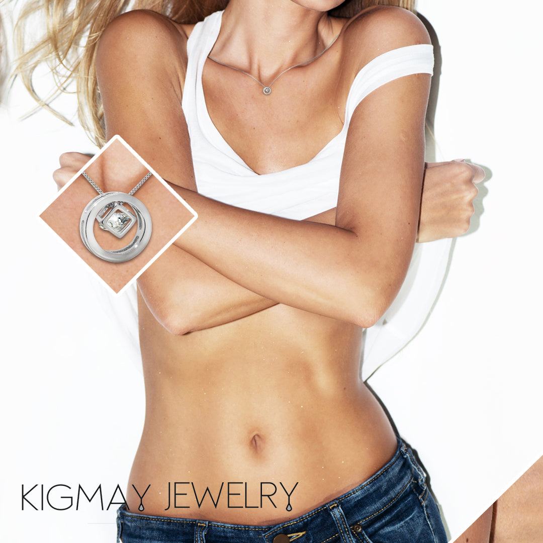 CZ Cube in Circle Pendant Necklace - Kigmay Jewelry - New York