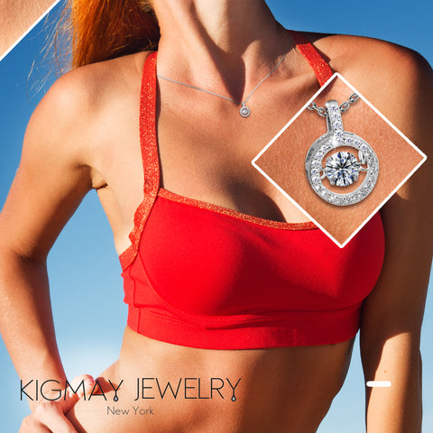 Circle Dancing CZ Stone Pendant Necklace - Kigmay Jewelry - New York