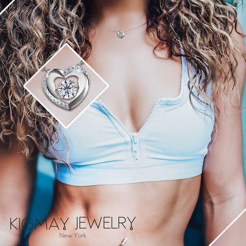 Dancing CZ Open Heart Pendant Necklace - Kigmay Jewelry - New York