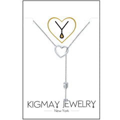 Open Heart and CZ Cupid Arrow Pendant Necklace - Kigmay Jewelry - New York
