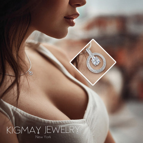 Interlocking Double Ring Pendant Necklace - Kigmay Jewelry - New York