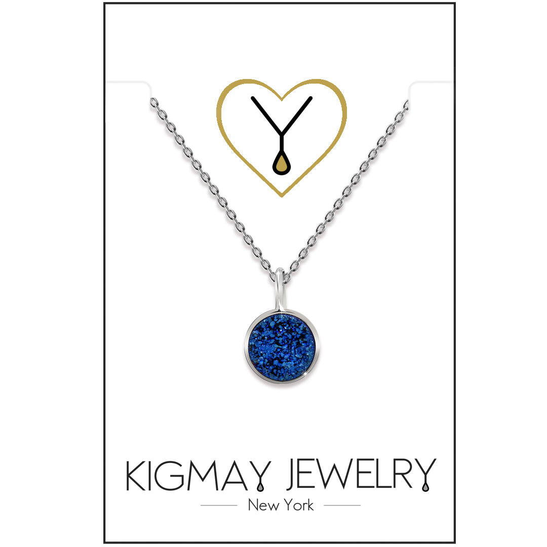 Round CZ Blue Stones Pendant Necklace - Kigmay Jewelry - New York