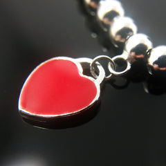 Red Heart and Bead Chain Bracelet - Kigmay Jewelry - New York