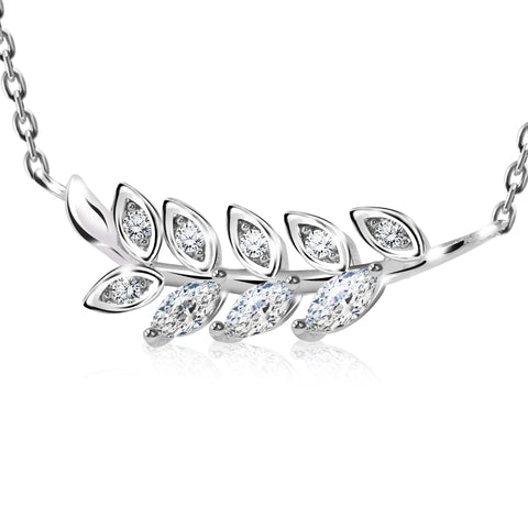 CZ Olive Leaf  Pendant Necklace - Kigmay Jewelry - New York