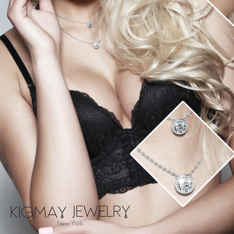 Two Round Solitaire Pendant Necklace - Kigmay Jewelry - New York