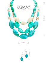 Chunky Layered Bead Necklace and Earring Set - Kigmay Jewelry - New York