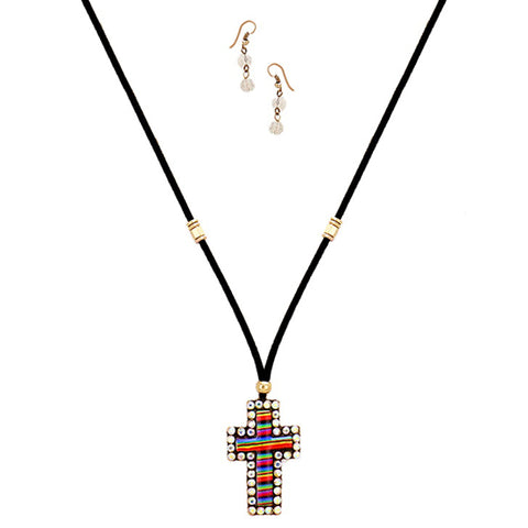Striped Rhinestone Cross Necklace - Kigmay Jewelry - New York