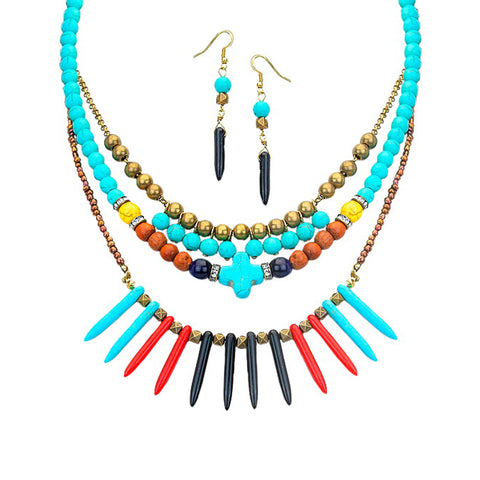 Multicolor Tribal Spike Necklace - Kigmay Jewelry - New York