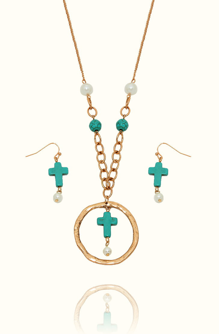 Simulated turquoise cross and faux pearl long pendant necklace 27 turquoise cross pendant necklace kigmay jewelry new york aloadofball Image collections