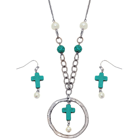 Turquoise Cross Pendant Necklace - Kigmay Jewelry - New York