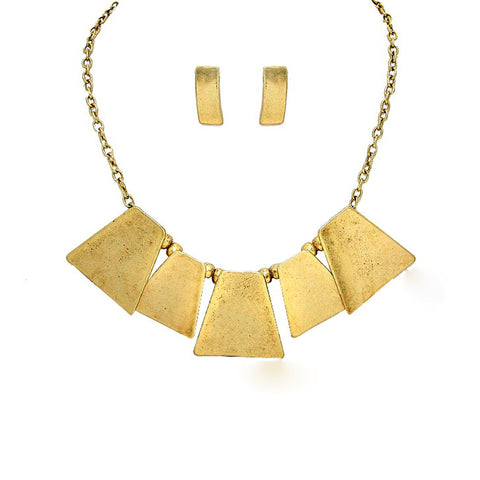 Geometric Metal Statement Necklace - Kigmay Jewelry - New York
