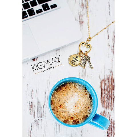 Heart Key Charm Necklace - Kigmay Jewelry - New York