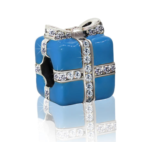 Blue Wrapped Present Charm Bead - Kigmay Jewelry - New York