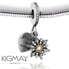Heart and Crystal Snowflake Necklace - Kigmay Jewelry - New York