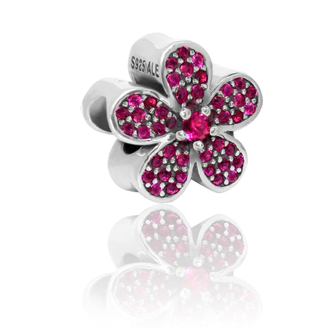 Pink Crystal Flower Charm Bead - Kigmay Jewelry - New York