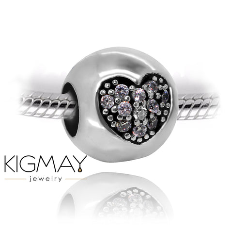 Purple Crystal Heart charm Bead - Kigmay Jewelry - New York