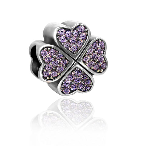 CZ Flower Heart Charm - Kigmay Jewelry - New York