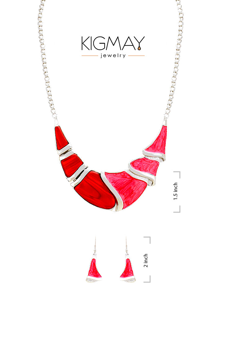 Red Crescent Statement Necklace - Kigmay Jewelry - New York