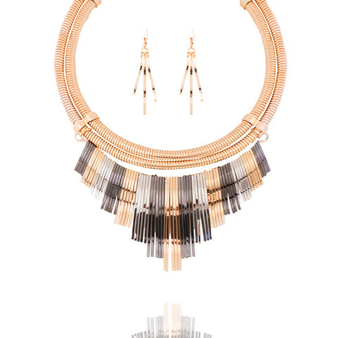 Tricolor Fringe Collar Necklace - Kigmay Jewelry - New York