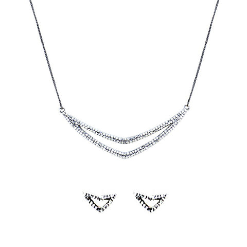 Pave Crystal Chevron Necklace - Kigmay Jewelry - New York