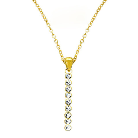 Rhinestone Bar Pendant Necklace - Kigmay Jewelry - New York