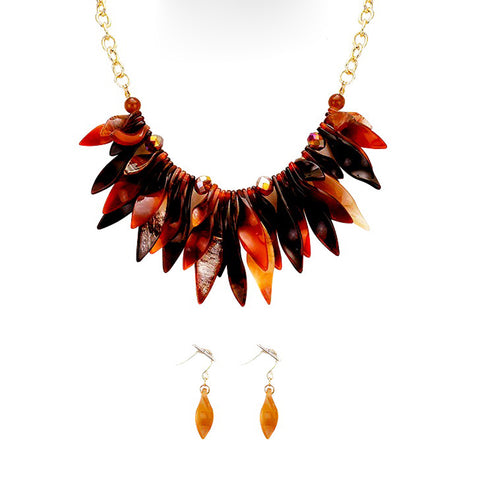 Brown Leaf Statement Necklace - Kigmay Jewelry - New York