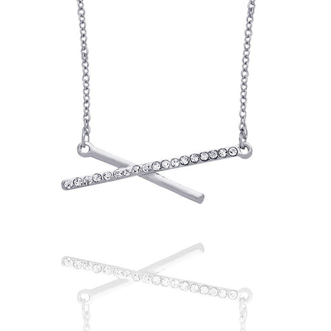 Crossed Crystal Pendant Necklace - Kigmay Jewelry - New York