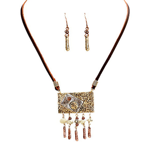 Suede Tribal Pendant Necklace - Kigmay Jewelry - New York