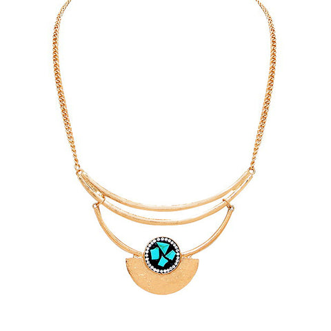 Crescent Turquoise Statement Necklace - Kigmay Jewelry - New York