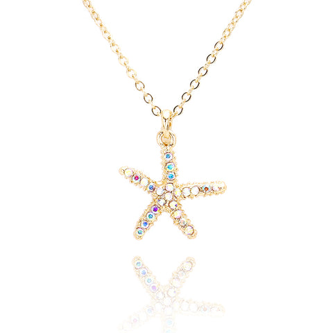 Rhinestone Starfish Pendant Necklace - Kigmay Jewelry - New York