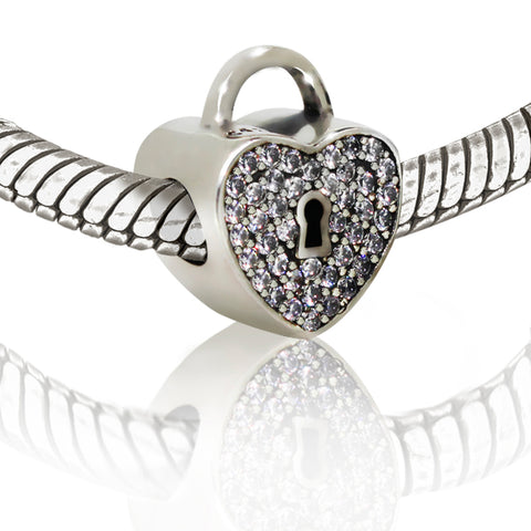 Purple Crystal Heart and Lock Charm Bead - Kigmay Jewelry - New York