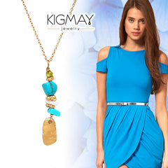 Hammered Turquoise Pendant Necklace - Kigmay Jewelry - New York