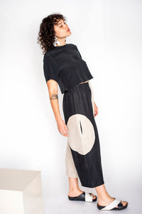 Big Circle Two-Tone Handmade Pants Size S
