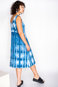 Indigo Dye Pocket Front Midi Dress Size L