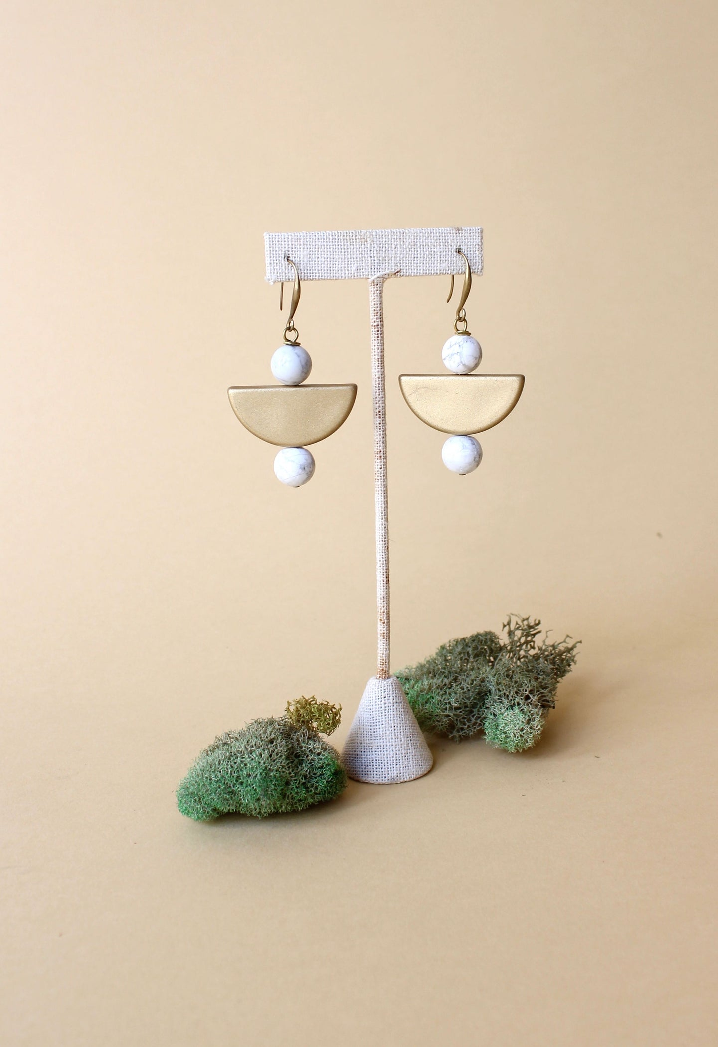 Howlite Half Moon Earrings