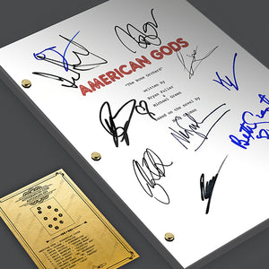 American Gods - Neil Gaiman Pilot Episode TV Script Screenplay Signed Autograph Reprint - Ricky Whittle, Emily Browning, Ian McShane