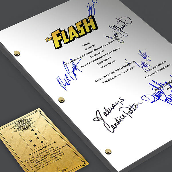 The Flash TV Pilot Episode TV Script Screenplay -  Signed Autograph Reprint - Grant Gustin, Candice Patton, Danielle Panabaker, Rick Cosne