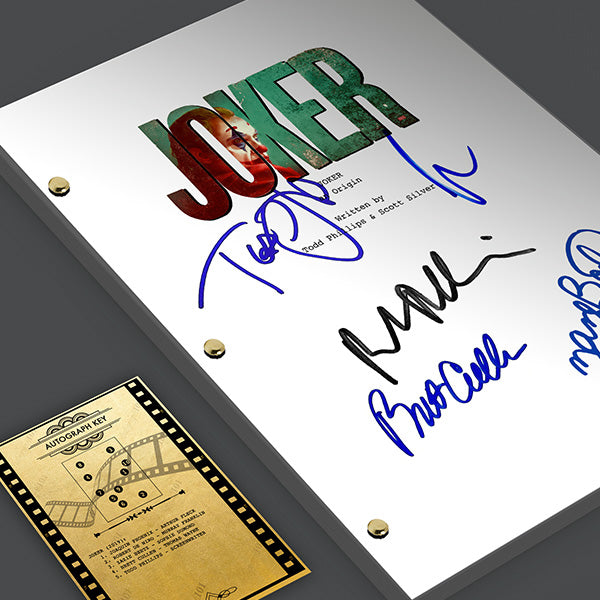 Joker 2019 Movie Screenplay Script Signed Autograph Joaquin Phoenix Robert De Niro Brett Cullen Todd Phillips