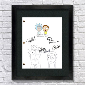 Rick and Morty Signed Script TV Screenplay Autograph RPT - Dan Harmon - Justin Roiland - Chris Parnell - Rob Paulsen - Rick Sanchez