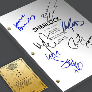 SHERLOCK TV Script Pilot Episode Screenplay - Signed Autograph Reprint - Benedict Cumberbatch, Martin Freeman, Rupert Graves, Una Stubbs