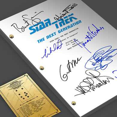 Star Trek Next Generation TNG Tv Show Script Screenplay Card Gift Signed Autograph Reprint - Jean Luc Picard, William Riker, Commander Data