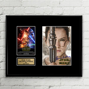 Rey Daisy Ridley Signed - Star Wars The Force Awakens - The Last Jedi - Autograph Signed Poster Art Print Artwork