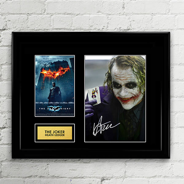 The Joker Heath Ledger - The Dark Knight - Signed Poster Art Print Artwork - Christian Bale Batman, Harvey Dent, Gotham