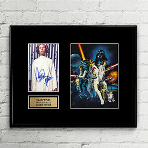 Princess Leia Carrie Fisher Star Wars - Autograph Signed Poster Art Print Artwork