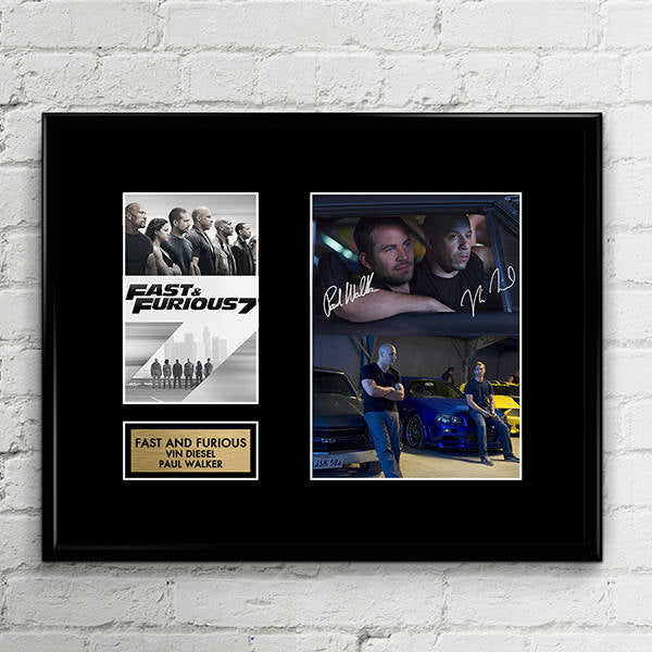 Vin Diesel Paul Walker - Fast and Furious 7 8 -  Signed Poster Art Print Artwork - Nissan Skyline GTR R34 - Dodge Charger RT