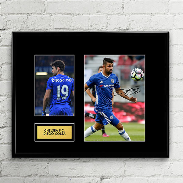 Diego Costa Chelsea Autograph Signed Poster Art Print Artwork - Chelsea FC Football Club - Premier League Champions 2017