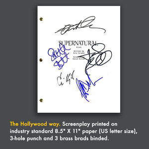 Supernatural TV Show Pilot Script Screenplay Signed Autograph Reprint - Jensen Ackles -Jared Padalecki - Samantha Smith