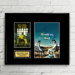 Breaking Bad - Walter White Jesse Pinkman Cast Autograph Signed Poster Art Print Artwork - Bryan Cranston Aaron Paul
