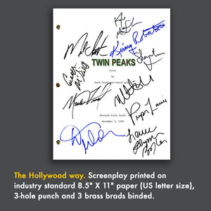 Twin Peaks TV Script Screenplay Signed Card Gift Autograph RPT Kyle Maclachlan, Lara Flynn Boyle, Dana Ashbrook, Mark Frost