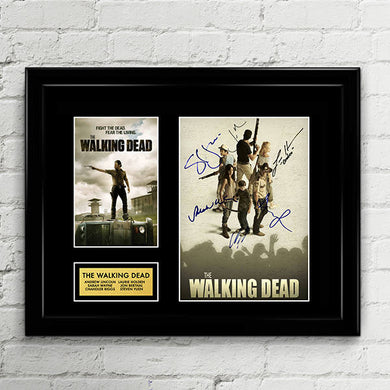 The Walking Dead Cast Autograph Signed Poster Art Print Artwork - Andrew Lincoln, Jon Berethal, Sarah Wayne, Chandler Riggs, Steven Yuen